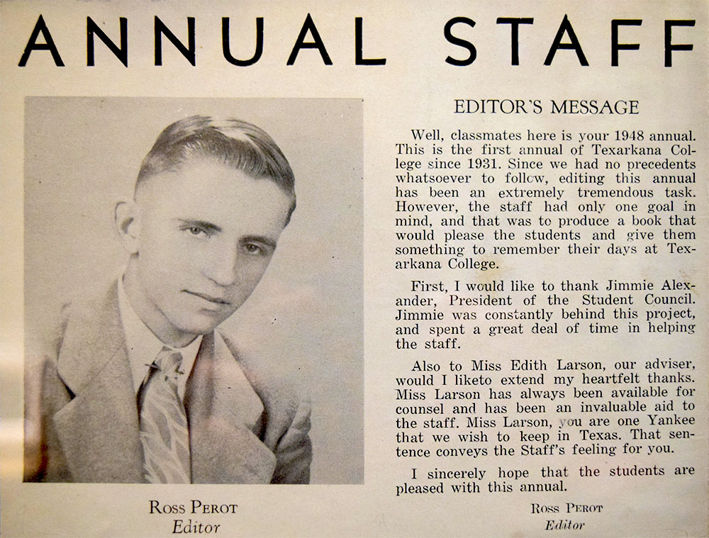 Ross Perot's message as Editor of the Texarkana College 1948 annual