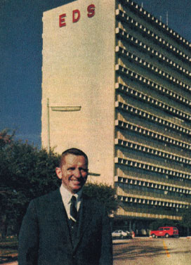 Ross Perot in front of EDS building