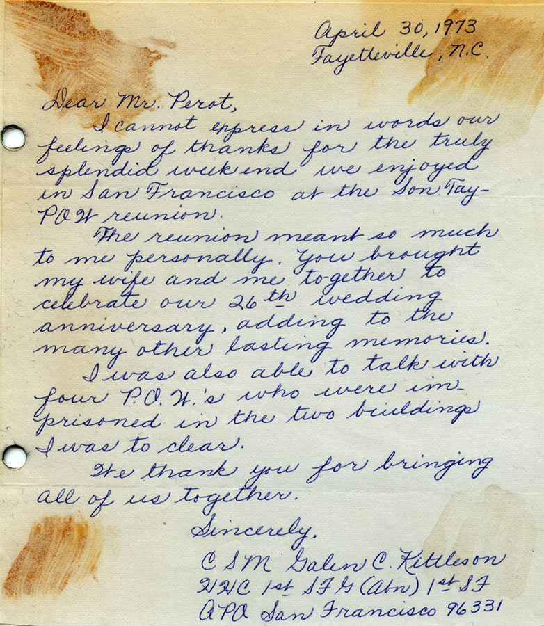 Letter of appreciation from an American soldier