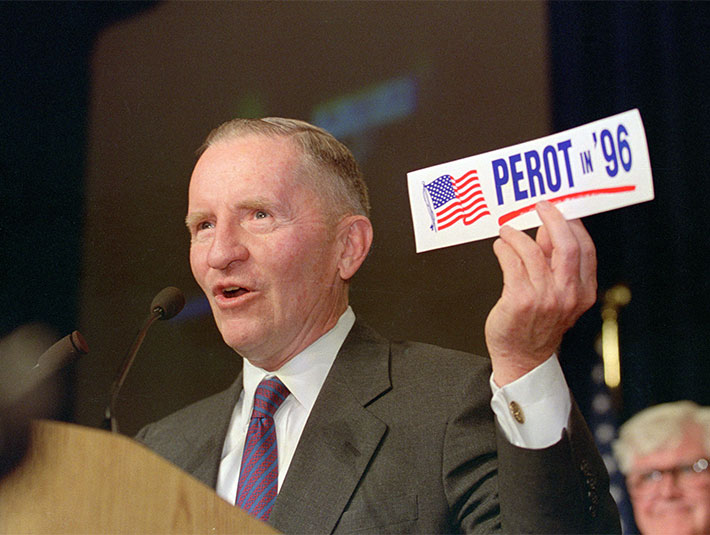 Ross Perot with Presidential Sticker